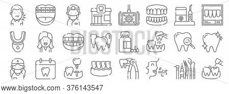 Dental Care Line Icons. Linear Set. Quality Vector Line Set Such As Cavities, Fresh, Gums, Dentist,