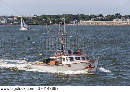 New Bedford, Massachusetts, Usa - July 11, 2020: Lobster Boat Jim Dandy Homebound On Breezy Summer M