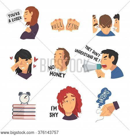 Depressed Teenagers In Stressful Situations Collection, Different Teen Problems Vector Illustration
