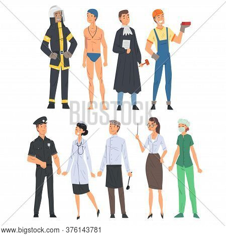 People Of Various Occupations Set, Judge, Fireman, Swimmer, Athlete, Builder, Policeman, Chef, Docto