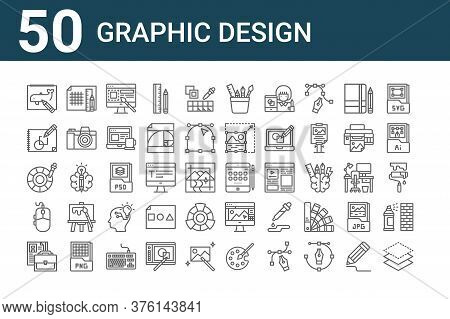 Set Of 50 Graphic Design Icons. Outline Thin Line Icons Such As Layer, Portfolio, Mouse, Color Picke