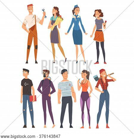People Of Various Occupations Set, Plumber, Florist, Singer, Stewardess, Programmer, Diver, Sailor,