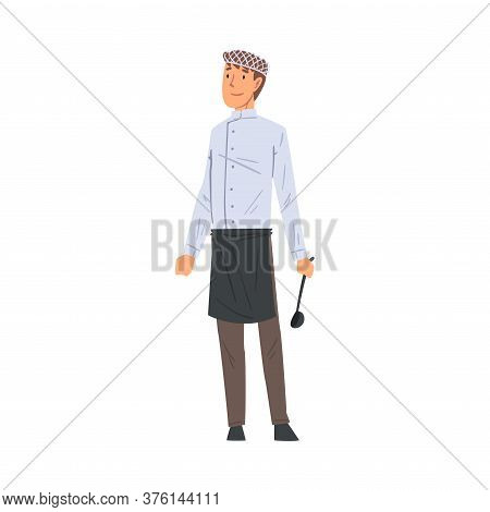 Professional Male Chief Cook Character Standing With Ladle Vector Illustration On White Background