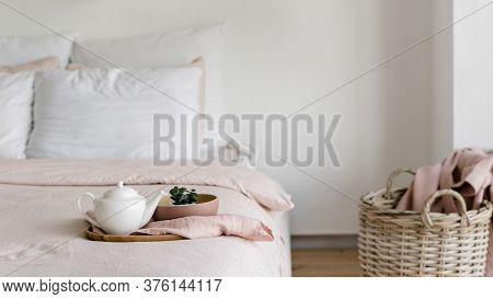 Concept Of Morning Weekend At Home. Panoramic View Of Modern House With Bright Bedroom, Duvet, Pillo