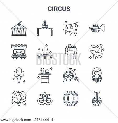 Set Of 16 Circus Concept Vector Line Icons. 64x64 Thin Stroke Icons Such As Balancing, Wagon, Juggli