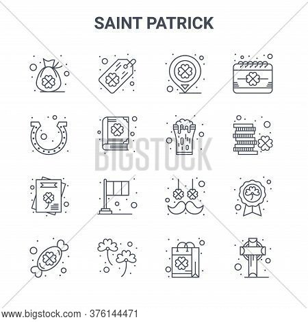 Set Of 16 Saint Patrick Concept Vector Line Icons. 64x64 Thin Stroke Icons Such As Tag, Horseshoes,