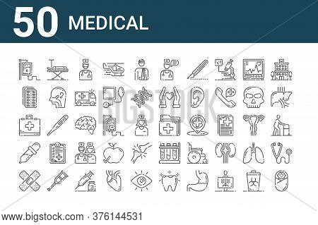 Set Of 50 Medical Icons. Outline Thin Line Icons Such As Child, Adhesive, Dropper, First Aid Kit, Pi