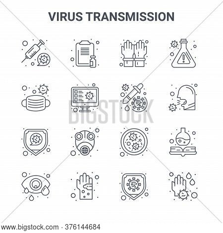 Set Of 16 Virus Transmission Concept Vector Line Icons. 64x64 Thin Stroke Icons Such As Medical Repo