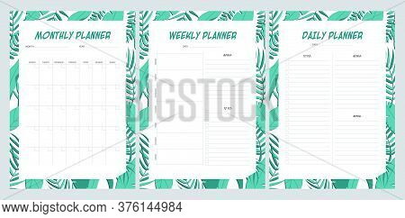 Set Of Planners With Leaves Pattern. Monthly, Weekly, Daily Planner.