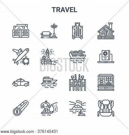 Set Of 16 Travel Concept Vector Line Icons. 64x64 Thin Stroke Icons Such As Park, Airplane, Passport