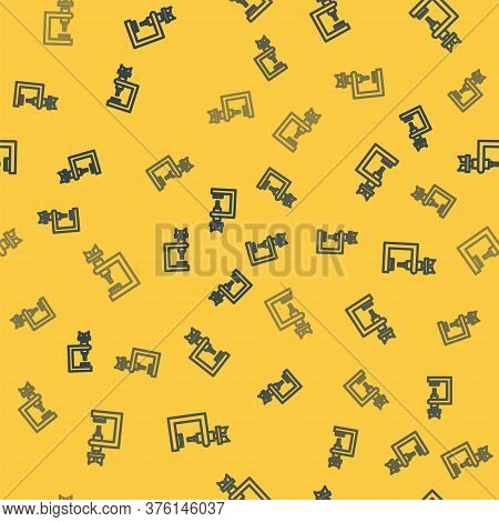 Blue Line Microscope Icon Isolated Seamless Pattern On Yellow Background. Chemistry, Pharmaceutical