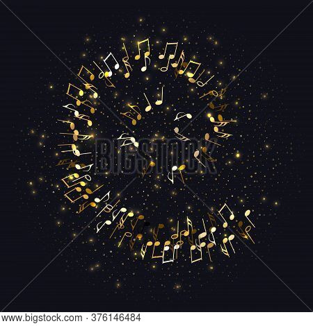 Golden Flying Musical Notes And Gold Stars Isolated On Black. Musical Signs For Banner Of Festival,