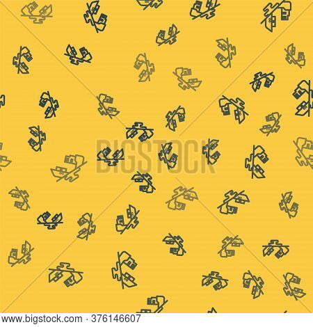 Blue Line Wrecked Oil Tanker Ship Icon Isolated Seamless Pattern On Yellow Background. Oil Spill Acc