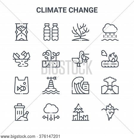 Set Of 16 Climate Change Concept Vector Line Icons. 64x64 Thin Stroke Icons Such As Plastic, Oil Spi