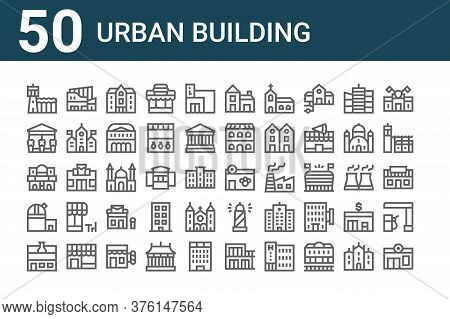 Set Of 50 Urban Building Icons. Outline Thin Line Icons Such As Pharmacy, Laboratory, Observatory, C