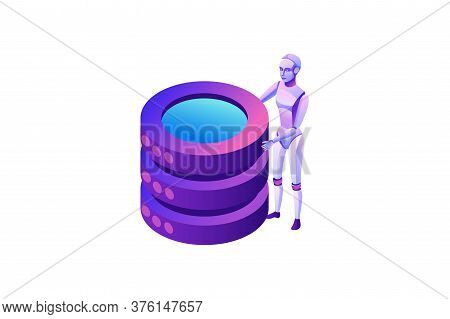 Robotic Process Automation Concept With Robot And Database, Robotic Character Holding Cylinders, Ext