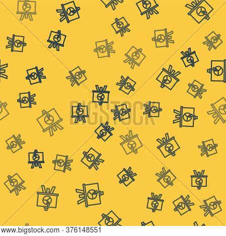 Blue Line Xyz Coordinate System Icon Isolated Seamless Pattern On Yellow Background. Xyz Axis For Gr