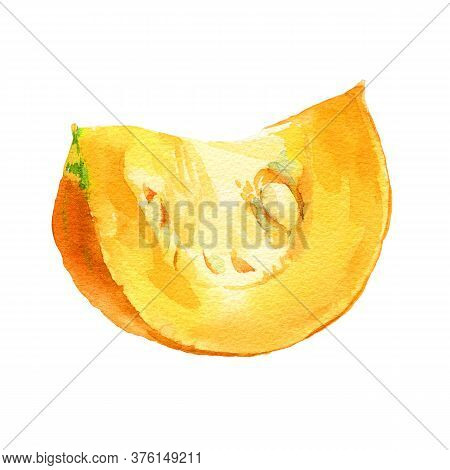 Watercolor Pumpkin Slice, Great Design For Any Purposes. Hand Drawn Food Illustration. Slice Of Oran