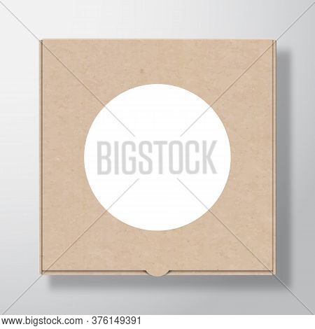 Craft Cardboard Pizza Box Container With Clear White Round Label Template. Realistic Carton Texture