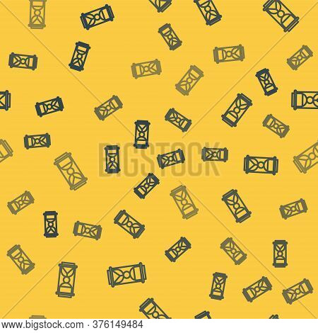 Blue Line Old Hourglass With Flowing Sand Icon Isolated Seamless Pattern On Yellow Background. Sand
