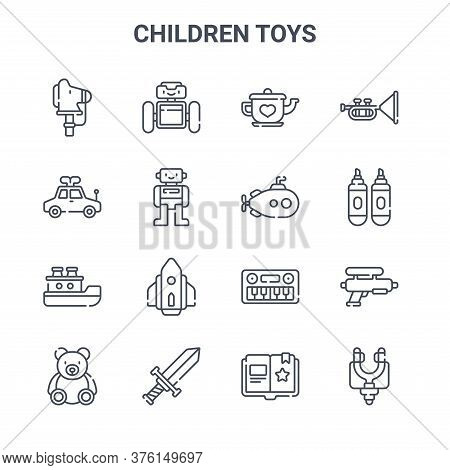 Set Of 16 Children Toys Concept Vector Line Icons. 64x64 Thin Stroke Icons Such As Droid, Toy Car, M