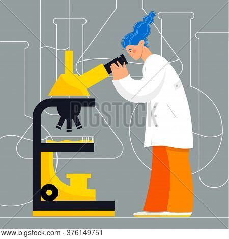 Woman Character In Laboratory Doing Research With Microscope. Laboratory Research Vector Illustratio