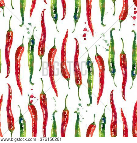 Red And Green Hot Chilli Peppers Watercolor Seamless Pattern Isolated On White Background. Hand Draw