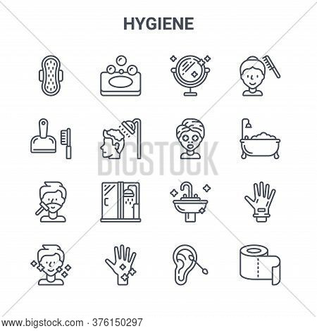 Set Of 16 Hygiene Concept Vector Line Icons. 64x64 Thin Stroke Icons Such As Soap, Dustpan, Bathtub,