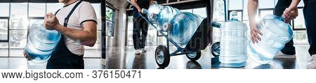 Collage Of Delivery Man In Uniform Holding Hand Truck With Purified Water In Bottles