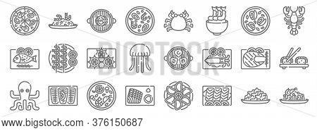 Seafood Line Icons. Linear Set. Quality Vector Line Set Such As Pasta, Sashimi, Sashimi, Octopus, Fi