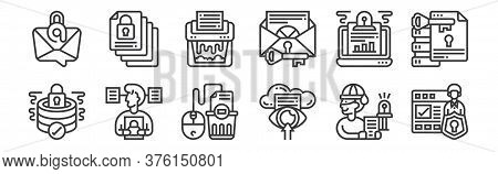 12 Set Of Linear Confidential Information Icons. Thin Outline Icons Such As Data Protection, Data, C