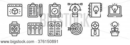 12 Set Of Linear Design Thinking Icons. Thin Outline Icons Such As Light Bulb, Target, Advantage, Li