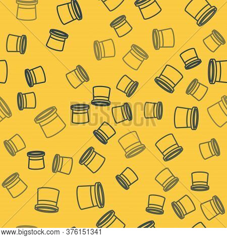 Blue Line Magician Hat Icon Isolated Seamless Pattern On Yellow Background. Magic Trick. Mystery Ent