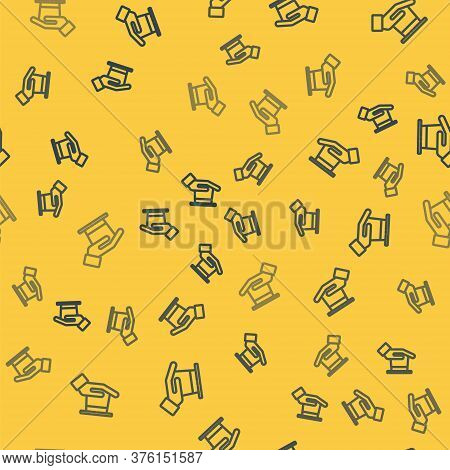 Blue Line Magician Hat In Hand Icon Isolated Seamless Pattern On Yellow Background. Magic Trick. Mys