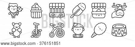12 Set Of Linear Circus Icons. Thin Outline Icons Such As Platform, Mime, Monocycle, Ticket Office,
