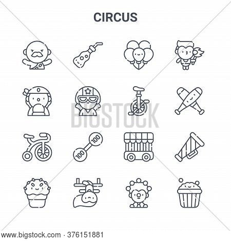 Set Of 16 Circus Concept Vector Line Icons. 64x64 Thin Stroke Icons Such As Soda, Fortune Teller, Ju