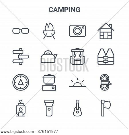 Set Of 16 Camping Concept Vector Line Icons. 64x64 Thin Stroke Icons Such As Barbecue, , Life Vest,