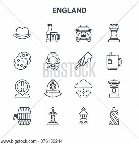 Set Of 16 England Concept Vector Line Icons. 64x64 Thin Stroke Icons Such As Beer, Cookies, Tea, Rai