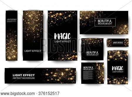 Banner With Yellow Dust. Light Effect On Beautiful Banners. Dust Effect. Dust Particles Flicker On A