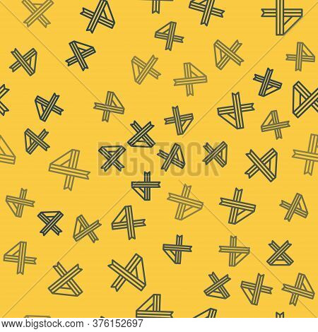 Blue Line Breast Cancer Awareness Ribbon Icon Isolated Seamless Pattern On Yellow Background. World