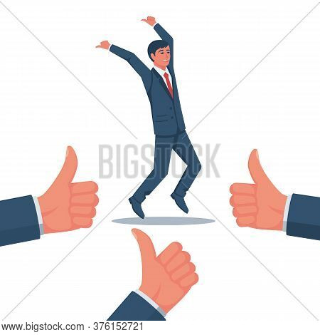 Like A Successful Manager. Happy Businessman Rejoices In High Achievements. Vector Flat Design. Isol
