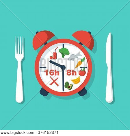 Periodic Fasting. Protocol Nutrition 16 8. Time For Food And Time For Hunger. Vector Illustration Fl