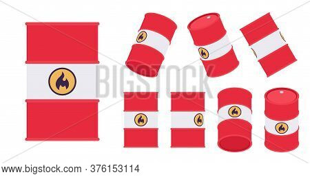Flammable Red Barrel Set With Fire Emblem. Steel Tight Head Drum For Transporting Industrial Equipme