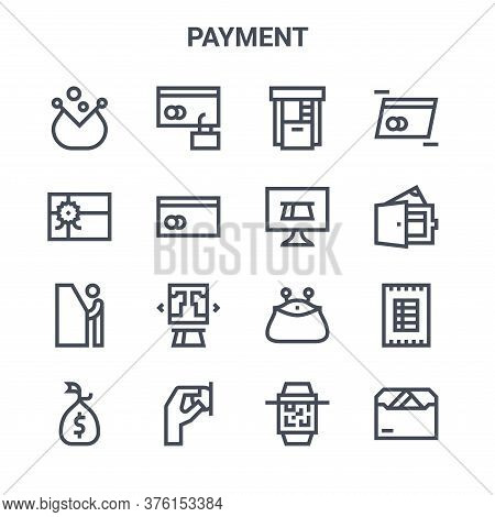 Set Of 16 Payment Concept Vector Line Icons. 64x64 Thin Stroke Icons Such As Secure Payment, Gift Ca