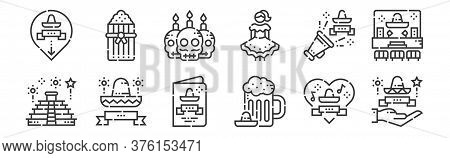 12 Set Of Linear Cinco De Mayo Icons. Thin Outline Icons Such As Cinco De Mayo, Beer, Mexico, Cinco