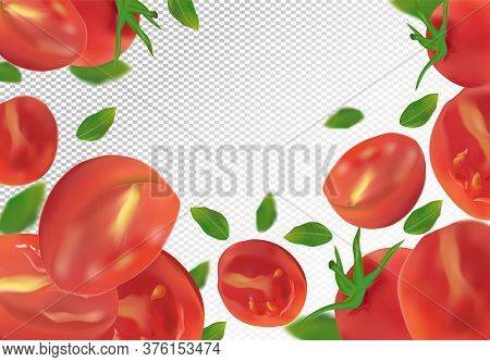 Tomato Background. Fresh Tomato With Green Leaf On Transparent Background. Flying Tomato Are Whole A