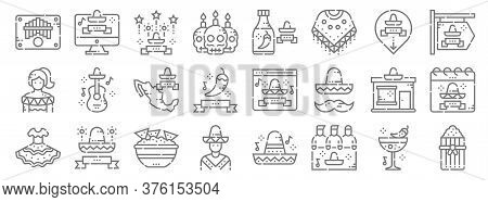 Cinco De Mayo Line Icons. Linear Set. Quality Vector Line Set Such As Tamales, Hat, Mexican, Mexican