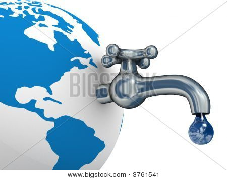 Water Stocks On The Earth. 3D Image.
