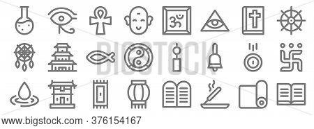 Spiritual Line Icons. Linear Set. Quality Vector Line Set Such As , Incense, Paper Lantern, Raindrop