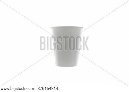 White Disposable Paper Cup For Drinks At Isolated Background, Coffee To Go, Delivery, Take Away, Res